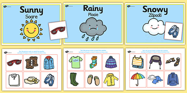 weather clothes sorting activity romanian translation. Black Bedroom Furniture Sets. Home Design Ideas