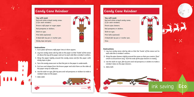 Candy Cane Reindeer Craft Instructions Christmas Xmas Santa