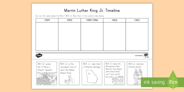 martin luther king jr timeline worksheet activity sheet civil