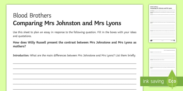 blood brothers mrs johnston and mrs lyons la essay plan