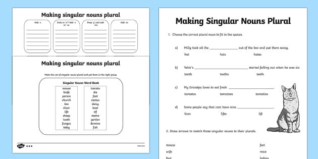 Making Singular Nouns Plural Worksheet / Activity Sheet