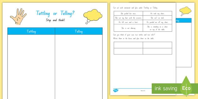 Tattling Or Telling Cut And Paste Worksheet Worksheet