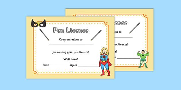 Superhero Themed Pen License Certificate - superhero, pen