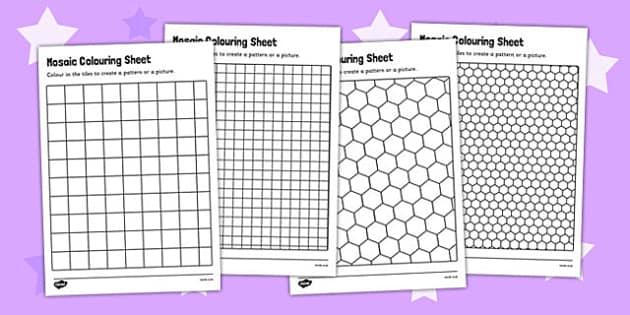Mosaic Colouring Sheets