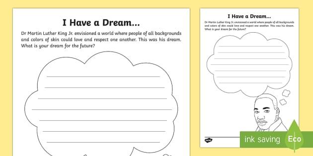 I Have A Dream Worksheet Activity Sheet Mlk Black