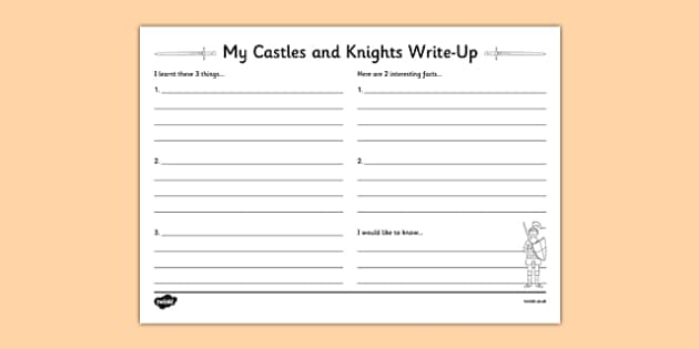 Castles & Knights Writing Frames and Worksheets