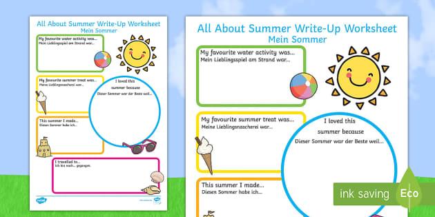 summer holiday write up worksheet worksheet english german eal. Black Bedroom Furniture Sets. Home Design Ideas