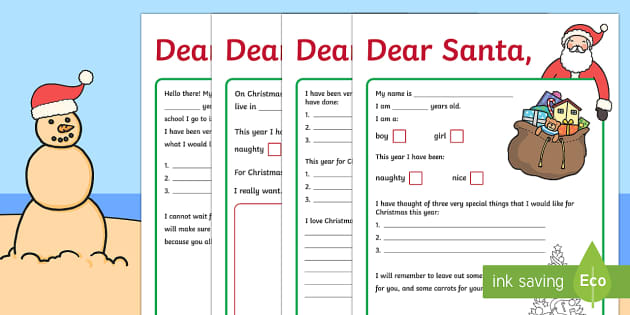 christmas letters to santa writing template
