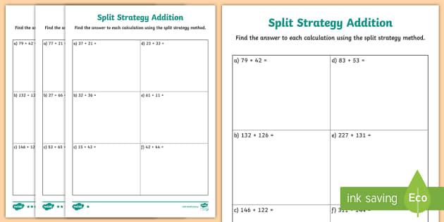 differentiated split strategy addition worksheet maths. Black Bedroom Furniture Sets. Home Design Ideas