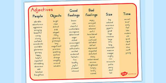 Adjective Word Mat Australia Adjective Word Mat Word Mat