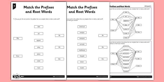 Match the Prefixes and Root Words Differentiated Worksheet ...