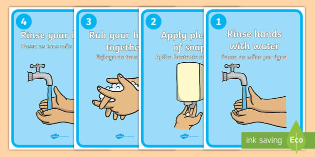 How to Wash Your Hands Display Posters English/Portuguese - How to Wash Your
