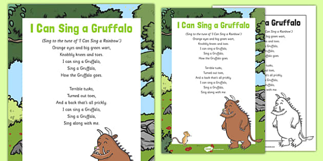 i can sing a gruffalo song to support teaching on the gruffalo. Black Bedroom Furniture Sets. Home Design Ideas
