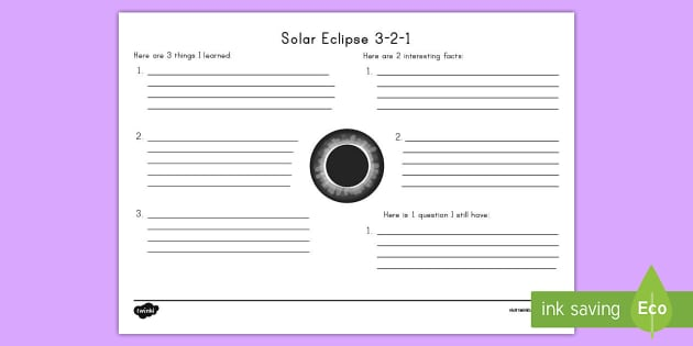 solar eclipse 3 2 1 worksheet activity sheet solar eclipse