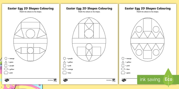 easter egg colour by 2d shapes worksheet activity sheets. Black Bedroom Furniture Sets. Home Design Ideas