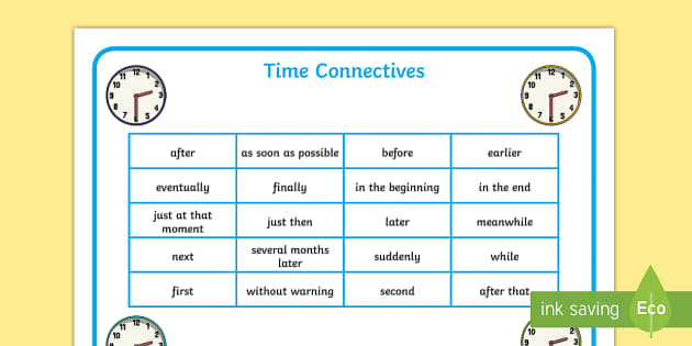 List Of Time Connectives - time, conjunctions, time