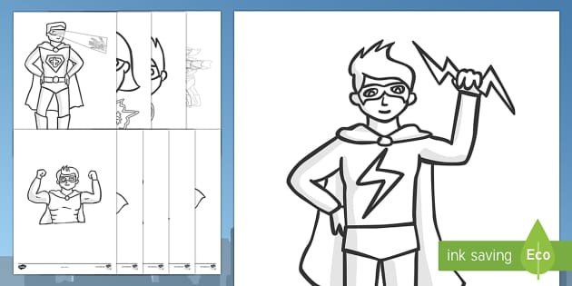 Superheroes Colouring Pages VCOP