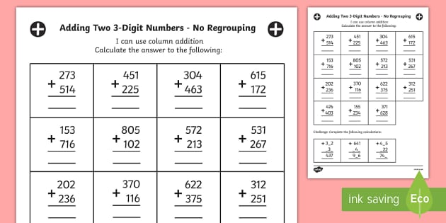 year 3 adding two 3 digit numbers in a column with no regrouping worksheet. Black Bedroom Furniture Sets. Home Design Ideas