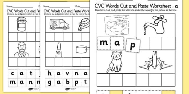 cvc words cut and paste worksheet activity sheet a cvc. Black Bedroom Furniture Sets. Home Design Ideas