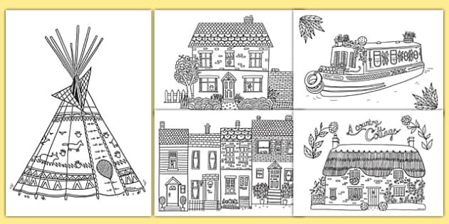 Adult Colouring Mindfulness Houses And Homes Pages