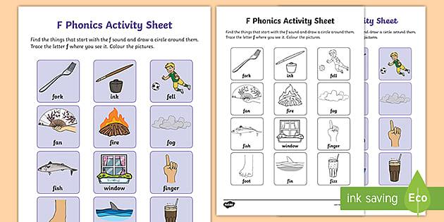 F Sound Phonics Worksheet Teacher Made