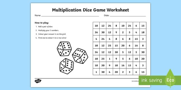 multiplication dice game worksheet australia multiplication. Black Bedroom Furniture Sets. Home Design Ideas