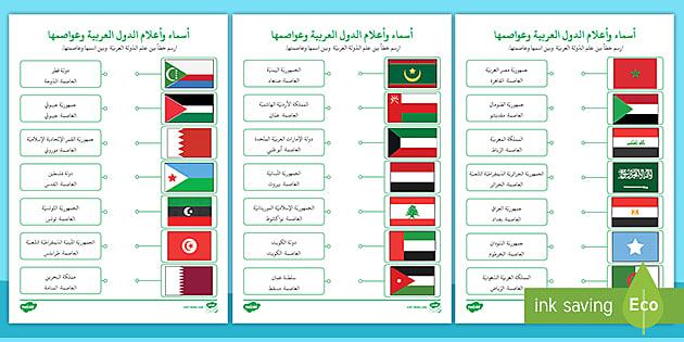 اوراق نشاط أسماء وأعلام الد ول العربي ة
