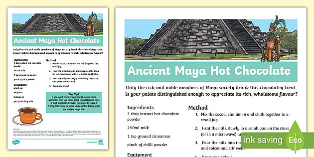 Maya Hot Chocolate Recipe Teacher Made