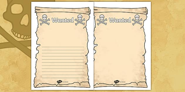 Create your own pirate wanted display poster pirate pirates for Wanted pirate poster template