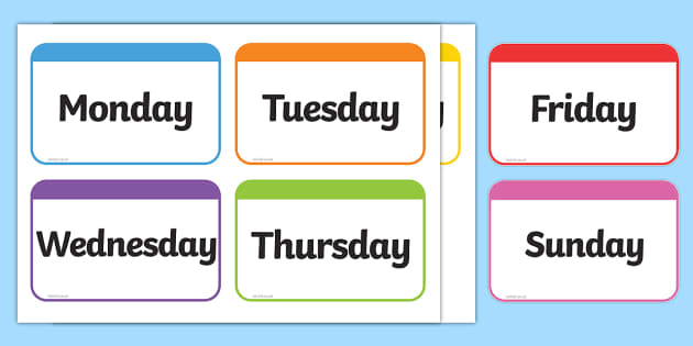 picture about Days of the Week Printable identified as Times of the 7 days Flashcards