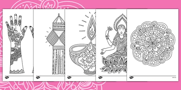 Diwali Themed Mindfulness Colouring Sheets Teacher Made