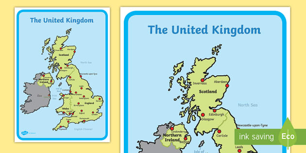 United Kingdom Map Uk Geography Classroom Resource