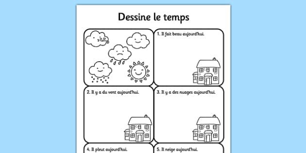 draw the weather worksheet french france nature science. Black Bedroom Furniture Sets. Home Design Ideas