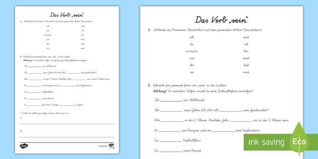 """NEW * Das Verb """"sein"""" Arbeitsblatt - Konjugation"""