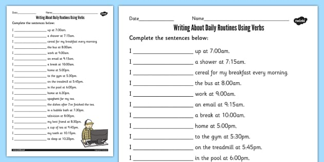 Writing About Daily Routines Using Verbs Worksheet - ESL