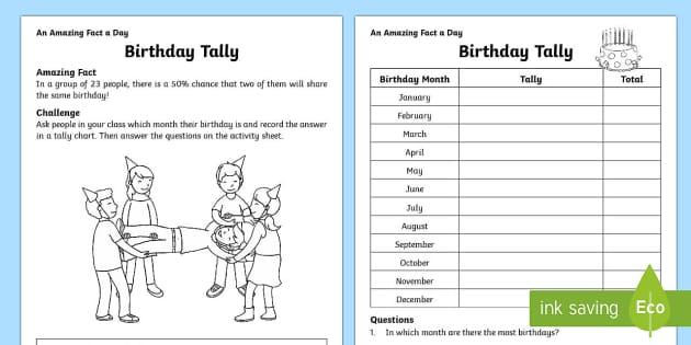 birthday tally worksheet activity sheet. Black Bedroom Furniture Sets. Home Design Ideas