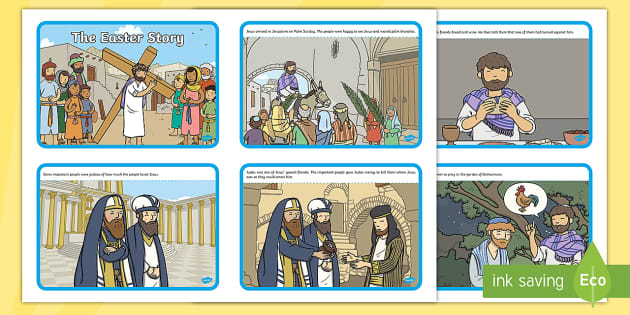 Ks1 The Easter Story Sequence Cards border=