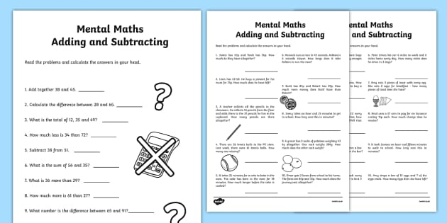Mental Maths Addition and Subtraction Worksheet / Worksheet Pack - Maths