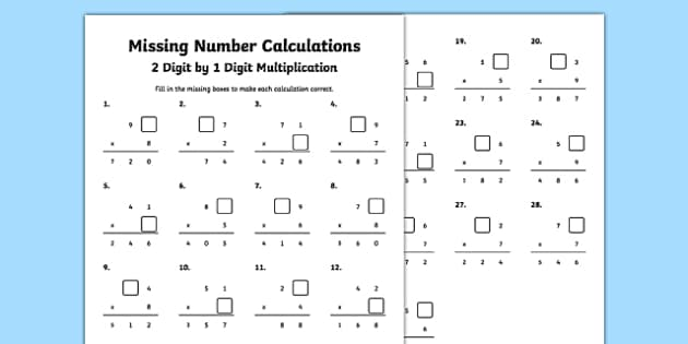missing number calculations 2 digits by 1 digit multiplication worksheet. Black Bedroom Furniture Sets. Home Design Ideas