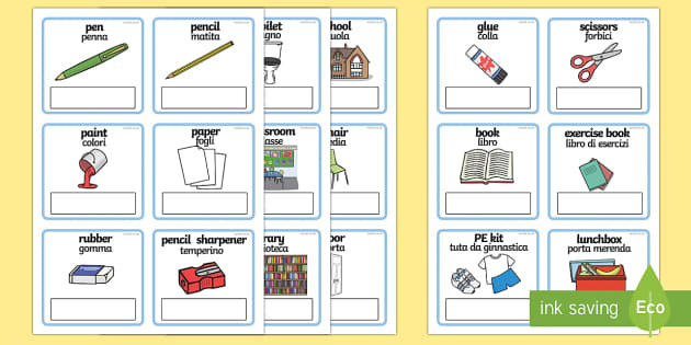 English To Italian Translation: Everyday Objects At School Editable Cards Italian/English