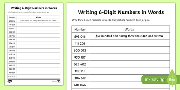 place value writing 6 digit numbers in words worksheet. Black Bedroom Furniture Sets. Home Design Ideas