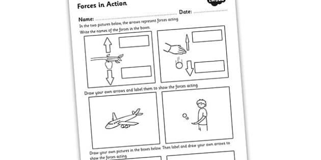 forces in action worksheet forces forces and motion forces. Black Bedroom Furniture Sets. Home Design Ideas