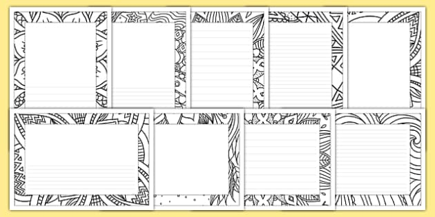 Mindfulness Colouring Page Borders Mindfulness