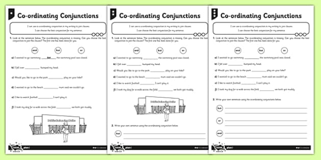 coordinating conjunctions differentiated worksheet worksheet pack. Black Bedroom Furniture Sets. Home Design Ideas