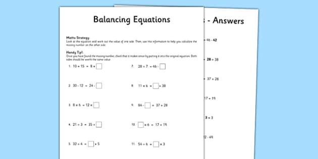 Balancing Equations Worksheet Activity Sheet Pack Balancing