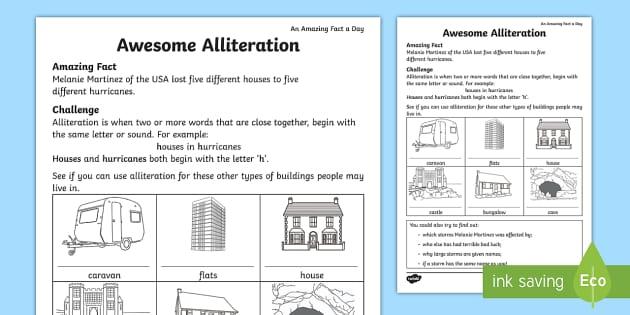 awesome alliteration worksheet worksheet amazing fact of the day. Black Bedroom Furniture Sets. Home Design Ideas
