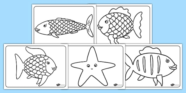Colouring Sheets to Support Teaching on The Rainbow Fish - The