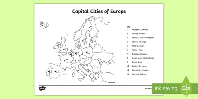 Locating Capital Cities Of Europe Map Worksheet