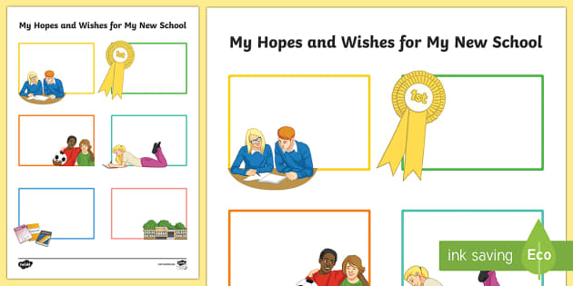 Hopes and Wishes for My New School Secondary SEN Worksheet /
