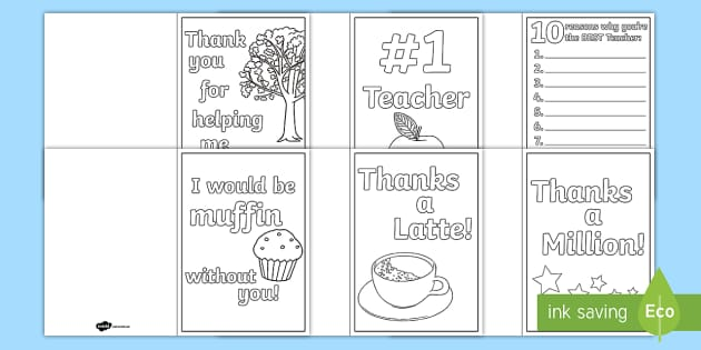 World Teachers Day Colouring Cards Printable Templates